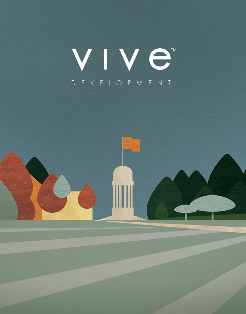 Vive Development logo on top of an illustration of Victoria Park